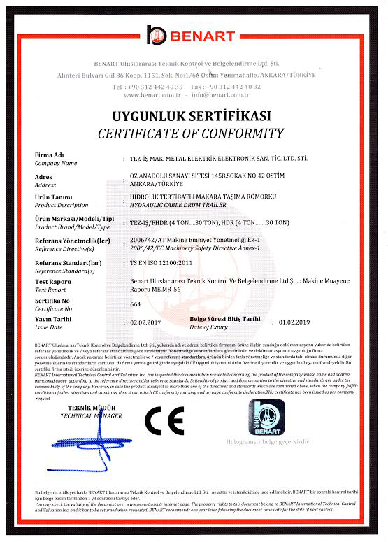 Certificates of Cable Pulling Winches Certificates of Cable Pulling Winches Certificates of Cable Pulling Winches and Cable Drum Trailers 1