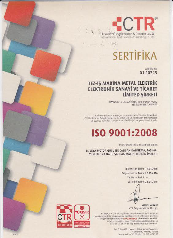 Certificates of Cable Pulling Winches Certificates of Cable Pulling Winches Certificates of Cable Pulling Winches and Cable Drum Trailers 3