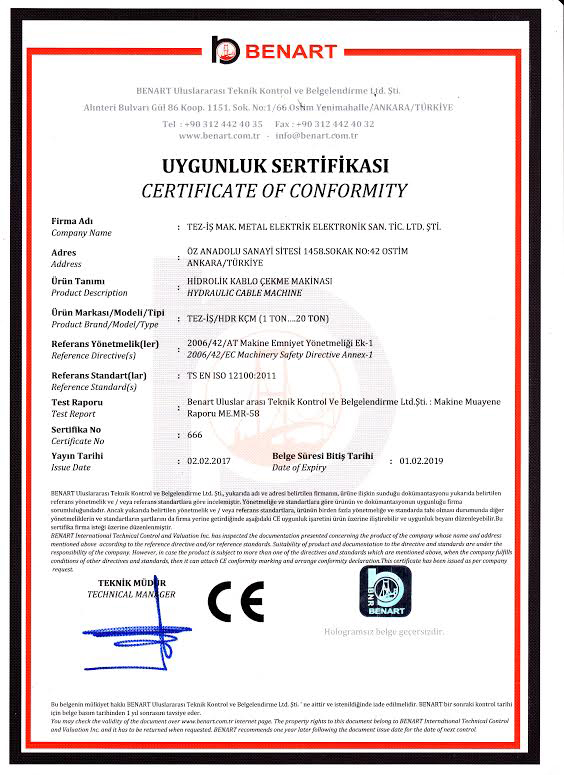 Certificates of Cable Pulling Winches Certificates of Cable Pulling Winches Certificates of Cable Pulling Winches and Cable Drum Trailers 5