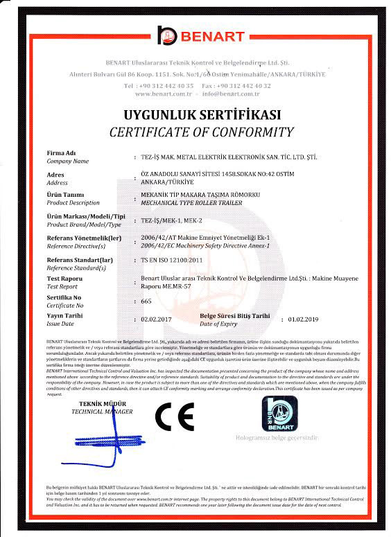 Certificates of Cable Pulling Winches Certificates of Cable Pulling Winches Certificates of Cable Pulling Winches and Cable Drum Trailers 6